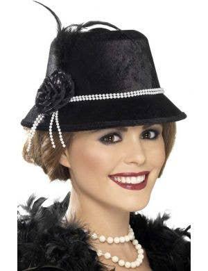 Women's Black 1920's Cloche Costume Hat Main Image