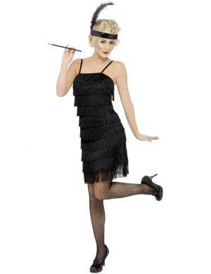 Women's Fringed Black Flapper 1920's Costume Dress Front View