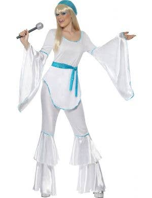 Super Trooper Women's White 70's Fancy Dress Costume Front view