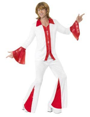 Red and White Men's Super Trooper 1970's Costume Image 1