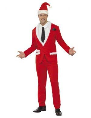 Men's Cool Santa Red Suit Christmas Costume Front