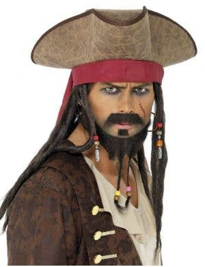 Padded Brown Pirate Hat with Dreadlocks