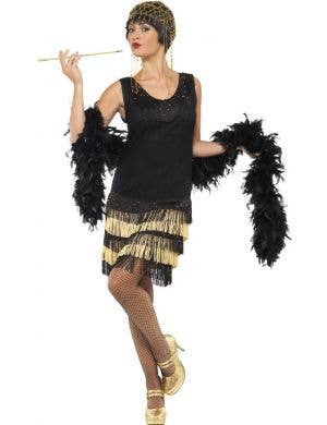 Black and Gold Women's 1920's Costume Front VIew