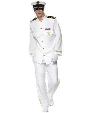 Flight Captain Men's White Pilot Suit Costume Image 1