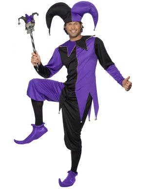Medieval Jester Men's Fancy Dress Purple and Black Costume Image 1