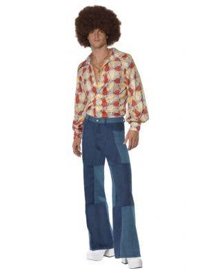 Patchwork Men's 70's Disco Flares Costume Pants