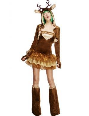 Womens Sexy Christmas Reindeer Costume Front