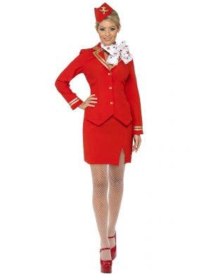 Women's Red Air Hostess Flight Attendant Fancy Dress Costume Front View