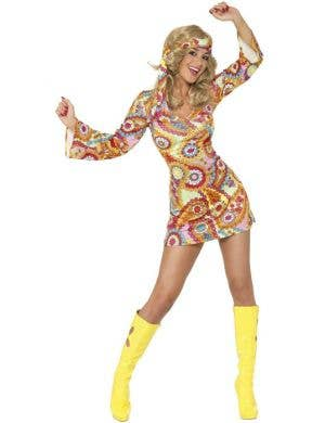 Women's Retro Short Hippie 60's Costume Dress Front View