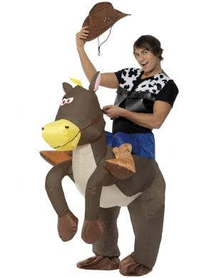 Ride Em Cowboy Inflatable Horse Novelty Fancy Dress Costume Front Image