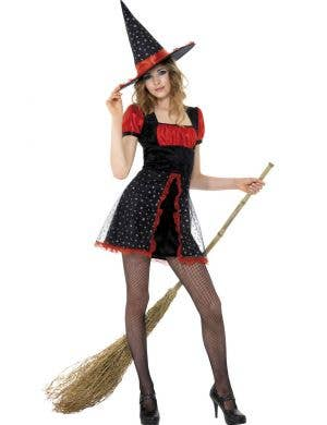 Teen Witch Girl's Black and Red Costume Dress Front View