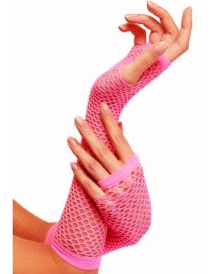 80's Neon Pink Fingerless Fishnet Gloves