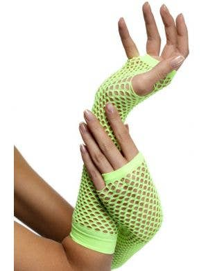 80's Neon Green Fingerless Fishnet Gloves