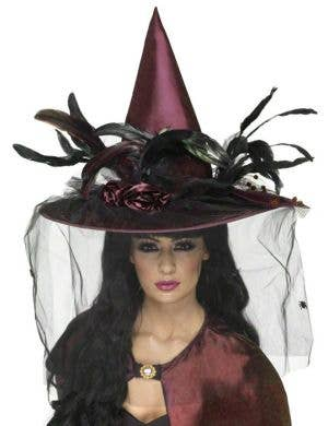 Elaborate Purple Plum Satin Halloween Witch Hat
