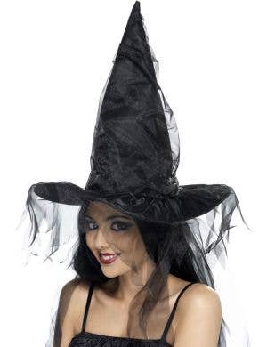 Netted Black Witch Hat Halloween Costume Accessory