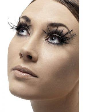 Feather Plume Women's Black Costume Eyelashes