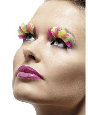 Neon Rainbow Feather Costume Eyelashes
