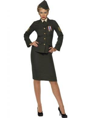 Women's Army Officer Green Military Costume Uniform Front View