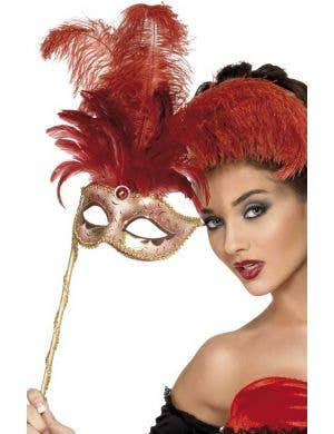 Venetian Red Feather Mask on Handle Front View