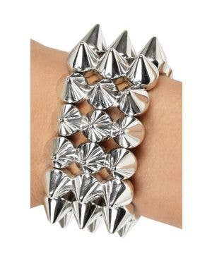 Spiked Silver Adult's Punk Bracelet Costume Accessory