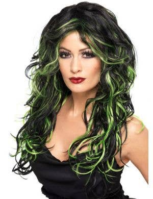 Gothic Bride Black and Green Halloween Wig