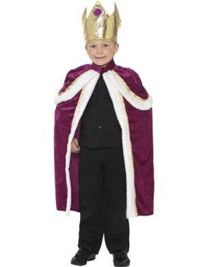 Boy's Royal King Medieval Burgundy Costume Front