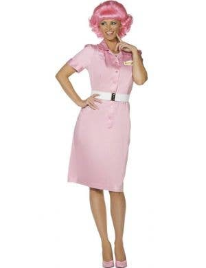 Women's Retro Pink Frenchie Grease Costume Dress Front View
