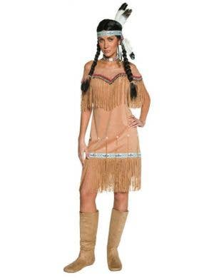 Women's Native American Indian Fancy Dress Costume Front View