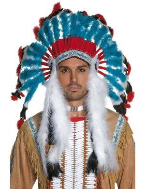 Western Indian Men's Red White And Blue Indian Chief Feather Headdress Front View