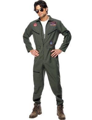 Top Gun Men's Flight Suit Fancy Dress Costume
