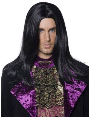 Gothic Count Men's Long Black Halloween Wig