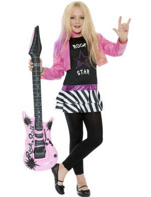 Girl's Pink and Black Punk Rock Star 80's Costume Front View