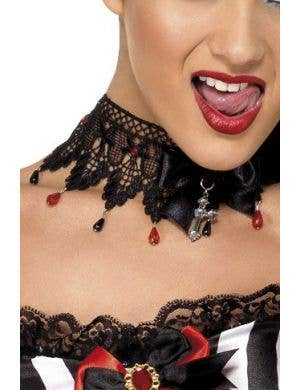 Black Lace Gothic Halloween Costume Necklace