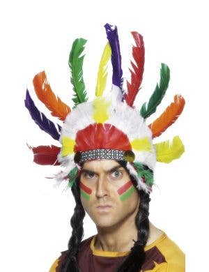Adult's Native Indian Inspired Multicoloured Feather Headdress Costume Accessory Main Image
