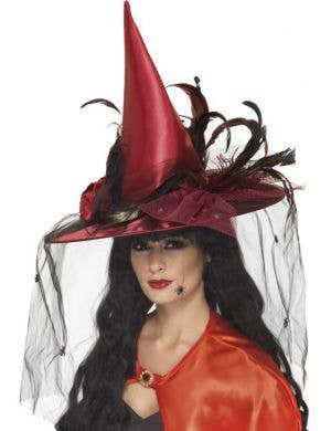 Elaborate Blood Red Satin Halloween Witch Hat