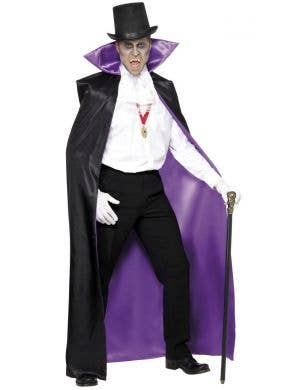 Count Black and Purple Reversible Cape Costume Accessory