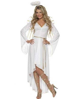 Festive White Christmas Angel Costume for Women Front Image