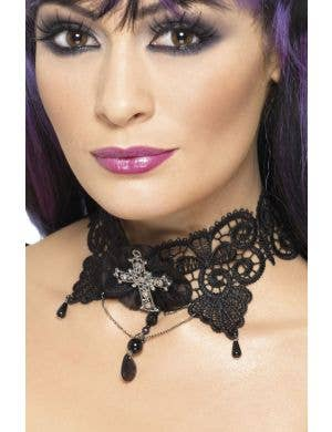 Black Lace Gothic Choker Costume Necklace with Cross