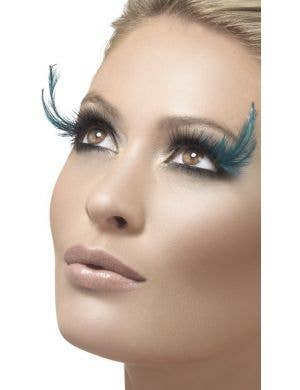 Dramatic Teal Feather Black Costume Eyelashes