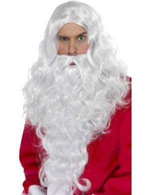 Father Christmas Long Curly Wig and Beard Set