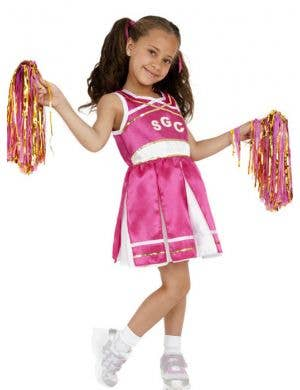 Girl's Hot Pink School Cheerleader Costume Front View