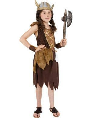 Girl's Brown Viking Costume Dress Up Front VIew