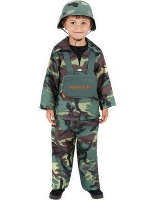 Boy's Army Soldier Camouflage Book Week Costume Front