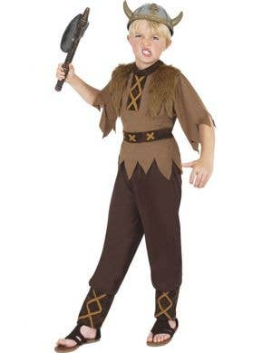 Boy's Brown Viking Warrior Costume Front View
