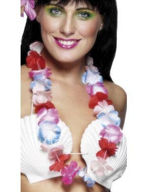 Hawaiian Coloured Flower Lei Costume Accessory View 1