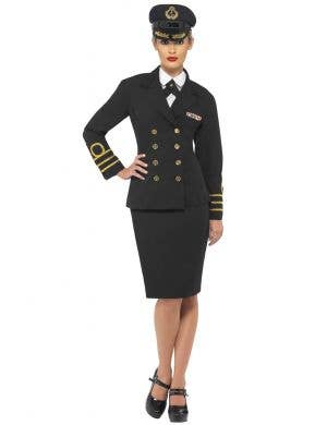 Black Women's Navy Officer Fancy Dress Costume  Front View