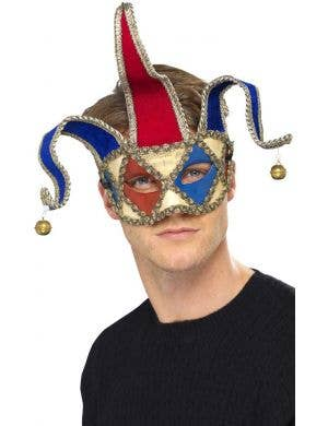 Red and Blue Men's Jester Masquerade Mask Front View