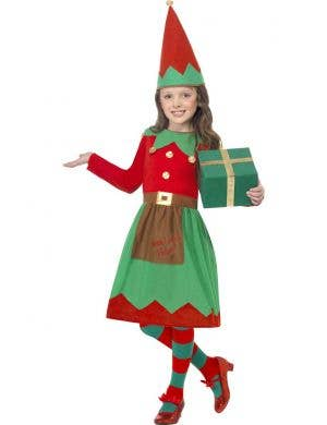 Girl's Cute Christmas Elf Fancy Dress Costume Front View