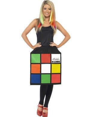 Women's Funny 80's Rubik's Cube Costume Front View