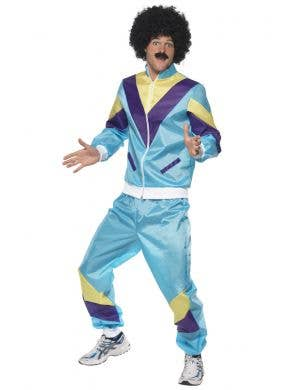 Men's 1980's Blue Tracksuit Fancy Dress Costume Front